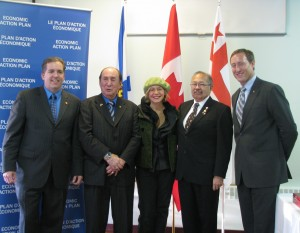 A diverse group of government funders continues to support the project. Here, some Federal partners are recognized for their support in 2009, including: Scott Armstrong (MP for Cumberland-Colchester-Musquodoboit Valley), late Chief Lawrence Paul (Millbrook First Nation), Lenore Zann (MLA for Truro-Bible Hill-Millbrook-Salmon River), Dr. Donald Julien (Executive Director for the Confederacy of Mainland Mi'kmaq) and the Honourable Peter MacKay (then Minister of National Defence and the Minister of the Atlantic Gateway).