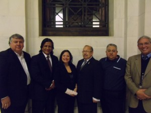 During the winter of 2009, a small contingent from the Mi'kmawey Debert Cultural Centre (MDCC) was invited to present to the Smithsonian National Museum of the American Indian (NMAI) Board of Trustees. From left to right, Randall L. Willis (Chairmen of the NMAI Board of Trustees), Dr. Jose Zarate (Primates World Relief and Development Fund), Shannon Googoo (MDCC), Dr. Donald Julien (The Confederacy of Mainland Mi'kmaq), Gerald Gloade (MDCC) and Kevin Gover (Director of the NMAI).
