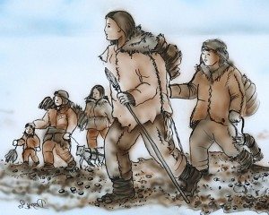 Imagined scene of people travelling near the Debert sites. Artwork by Dozay Christmas (Membertou First Nation).
