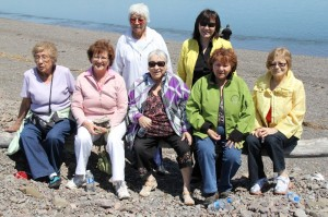 Mi'kmawey Debert Elders take a visit to Partridge Island with the Mi'kmawey Debert Staff on May 24, 2012. Front Row: Lillian Marshall, Florence Walsh, Murdena Marshall, Phyllis Googoo, Mary-Ellen Googoo. Back Row: Sarah Francis, Theresa Isaac Julien.
