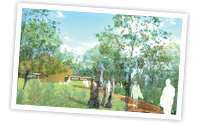 Artist rendering of an imagined approach to the future cultural centre, showing art installations and people at the gathering circle in the background. Image courtesy of Lundholm Associates Architects, The Glenn Group, and WHW Architects.