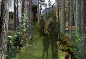 A schematic of the first gallery designed to be a total immersion experience for the visitor—with light filtering through trees, sounds of people talking in Mi'kmaq, spring water moving over rocks, wind moving in the trees, and the calls and croaks of loons, frogs, and caribou. Image courtesy of Lundholm Associates Architects.