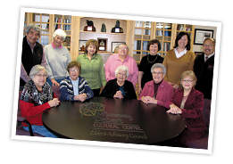 The Mi'kmawey Debert Elders' Advisory Council is the heart and soul of the project. This dedicated and knowledgeable group includes (back row, left to right) Douglas Knockwood (Indian Brook First Nation), Sarah Francis (Pictou Landing First Nation), Phyllis Googoo (We'koqma'q First Nation), Judy Bernard Julian (Paqtnkek First Nation), Florence Walsh (Millbrook First Nation), Theresa Isaac Julien (Millbrook First Nation), Dr. Donald Julien (Millbrook First Nation), and (front row, left to right), Dr. Murdena Marshall (Eskasoni First Nation), Lillian Marshall (Potlotek First Nation), Dr. Elsie Charles Basque (Saulnierville, NS), Sister Dorothy Moore (Membertou First Nation), and Dr. Mary-Ellen Googoo (Membertou First Nation). Missing: Agnes Potter (Bear River First Nation).