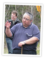 Gerald Gloade sharing with visitors at the Mi'kmawey Debert Interpretive Trail.