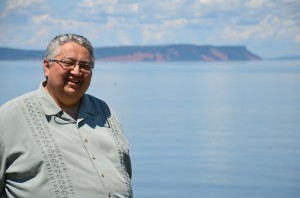 Program Development Officer Gerald Gloade (Millbrook First Nation) shares his knowledge of Kluskap stories while visiting important places in Mi'kma'ki