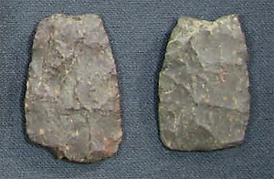 Tracadie Harbour projectile point bases made from maroon rhyolite found at Arisaig. From the collections of the Nova Scotia Museum, Archaeology Collections, Halifax, NS.