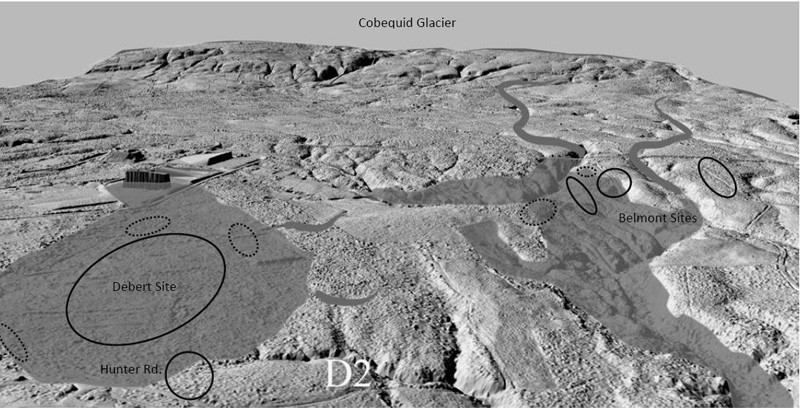 Digital Elevation Model (DEM) showing sites in relationship to glacial deposits. LIDAR base image courtesy of Tim Webster, Centre of Geographic Sciences, Lawrencetown, Nova Scotia. Base map data courtesy of Tim Webster, Applied Geomatics Research Group, Nova Scotia Community College, Middleton, NS.