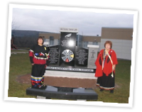 Dorene Bernard and Elder Phyllis Googoo during the 2012 IRS commemoration event at the Waycobah First Nation, Wayobah, NS.