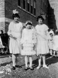 Elsie Charles, Cecilia Glode, and Hazel Paul at the Shubenacadie Indian Residential School,  1931. From the digital archive of Elsie Charles Basque, educator and IRS survivor. Image courtesy of Elsie Charles Basque.