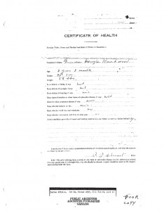 Archival document from Doug's admission and release from the Shubenacadie Residential School.