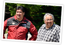 Clifford Paul and Gerald Gloade visit sites in Unama'ki for the Kluskap Stories project.